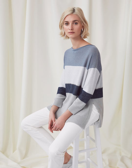 Embellished Color Block Sweater and Thompson Jean