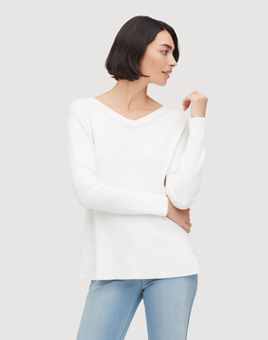 Petite Matte Crepe Wide V-Neck Relaxed Sweater