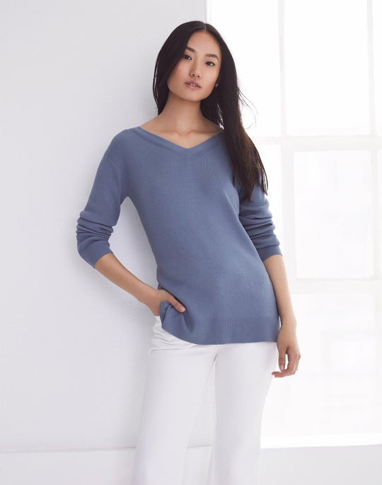 Blue Wide V-Neck Relaxed Sweater and Cropped Mercer Flare Jean