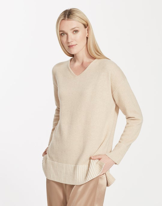 Plus-Size Cashmere V-Neck Sweater