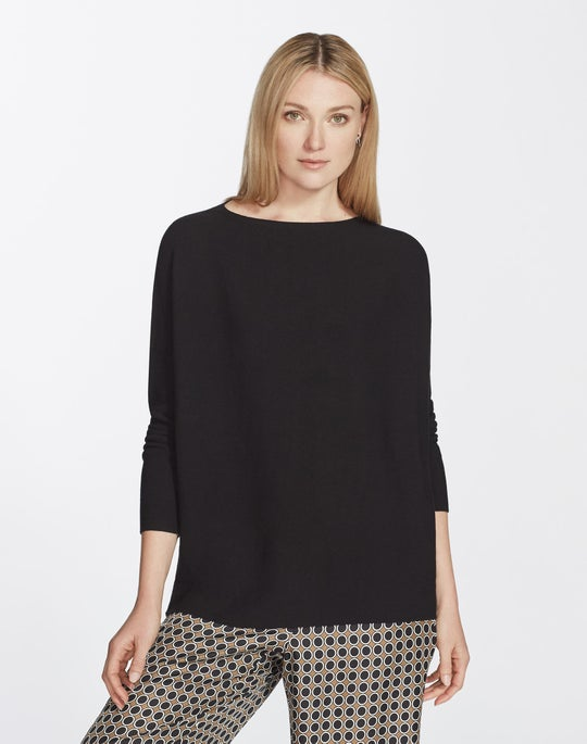 Plus-Size Matte Crepe Links Stitch Sweater