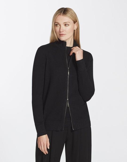 Petite Cashmere Zip-Front Cardigan