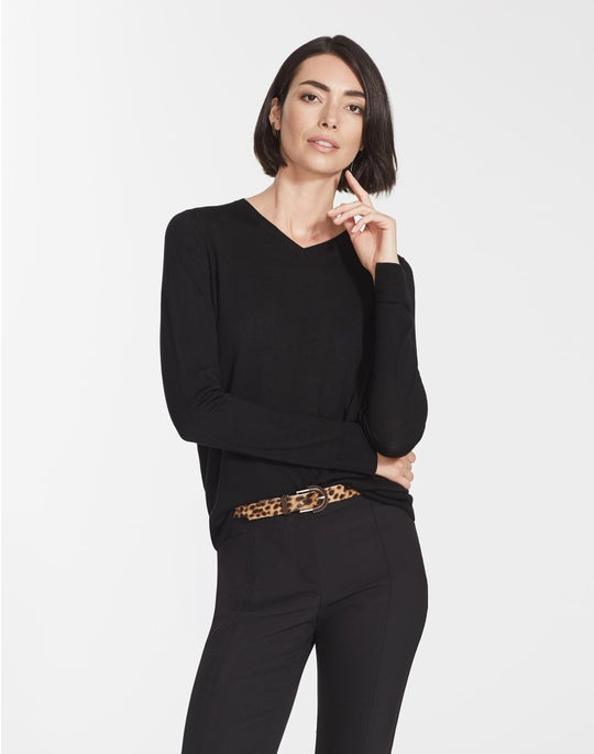 Plus-Size Fine Gauge Merino V-Neck Sweater