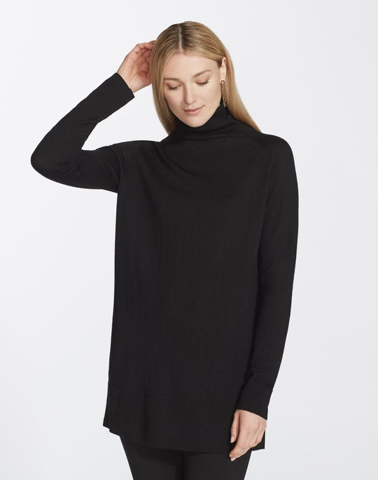Plus-Size Quintessential Merino Turtleneck Long Tunic Sweater