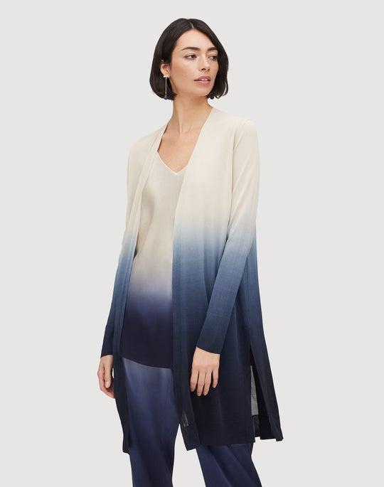 Plus-Size Metropolitan Stretch Open Front Dip-Dye Cardigan