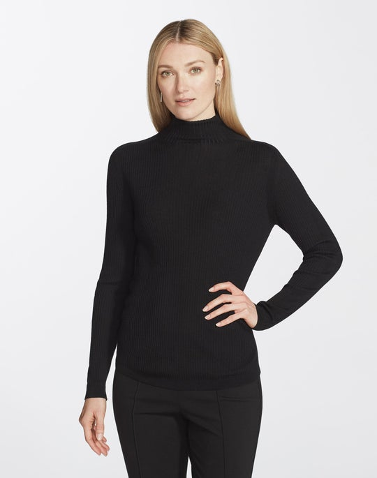 Plus-Size Fine Gauge Merino Ribbed Turtleneck Sweater