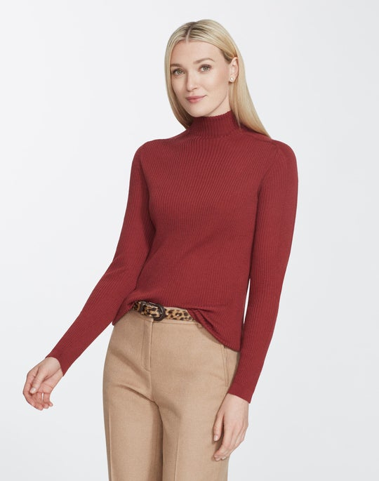 Plus-Size Fine Gauge Merino Ribbed Turtleneck Sweater