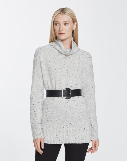 Petite Donegal Wool Funnel Collar Sweater