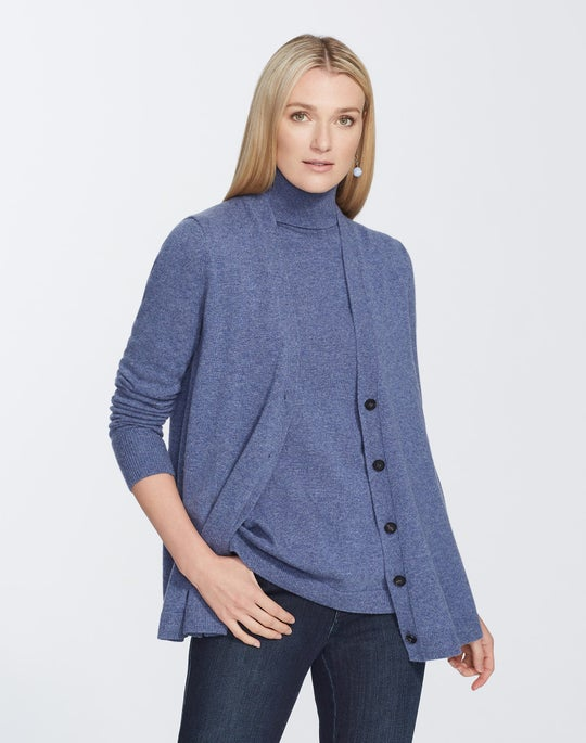 Plus-Size Cashmere A-Line Button Front Cardigan