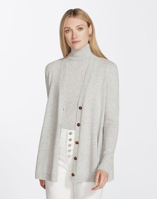 Plus-Size Cashmere A-Line Button Front Cardigan