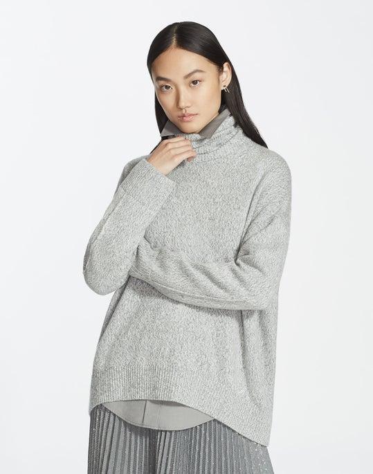 Cashmere Chine Sequin Turtleneck Sweater