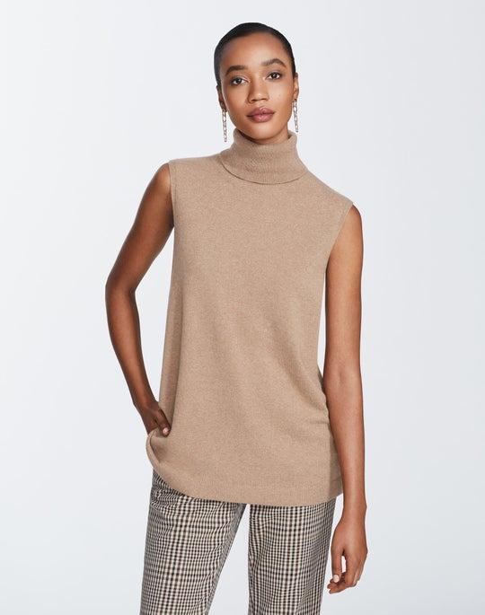 Plus-Size Cashmere Sleeveless Turtleneck Sweater