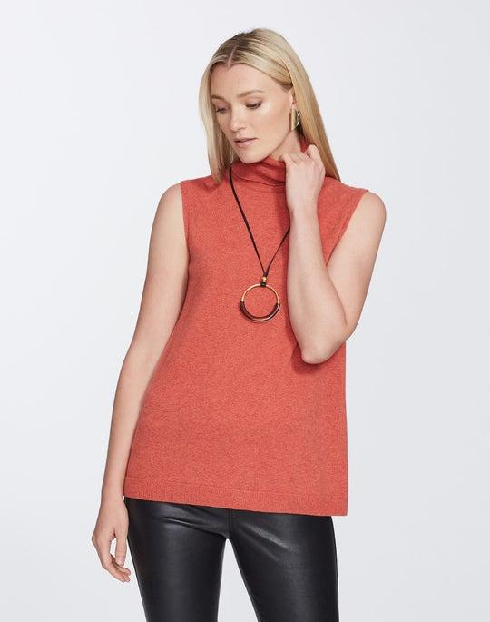 Plus-Size Cashmere Sleeveless Turtleneck Sweater