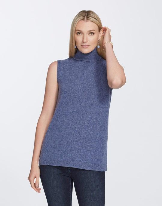Cashmere Sleeveless Turtleneck Sweater