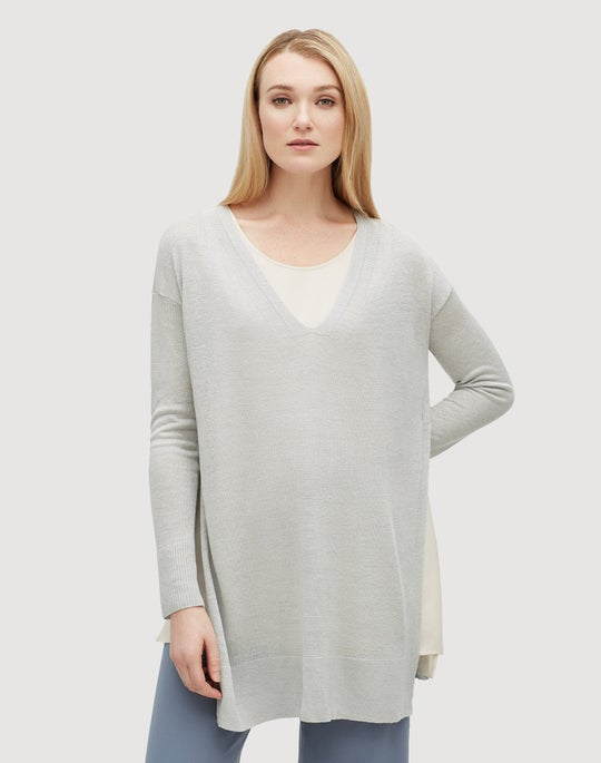 Plus-Size Linen Viscose Open Sided Tunic