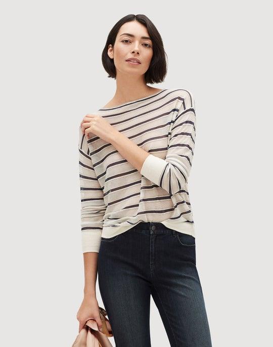 Stripe Finespun Voile Bateau Neck Sweater