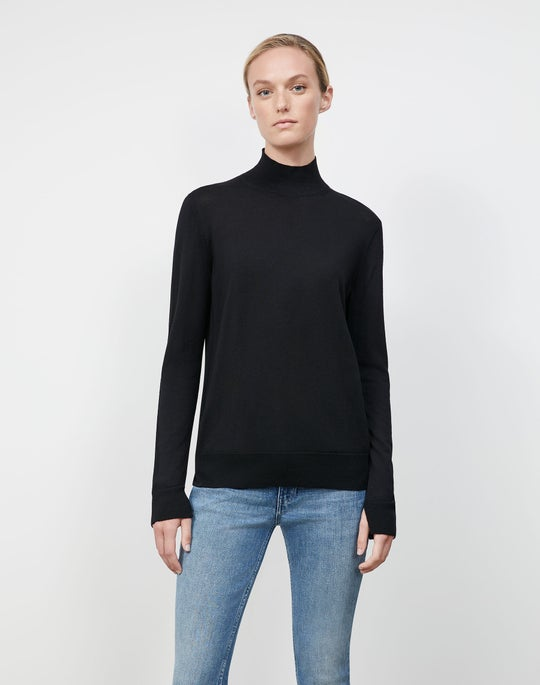 Petite Fine Gauge Merino Split Stand Collar Sweater