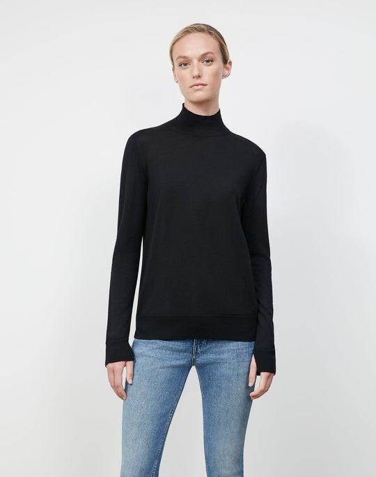 Fine Gauge Merino Split Stand Collar Sweater