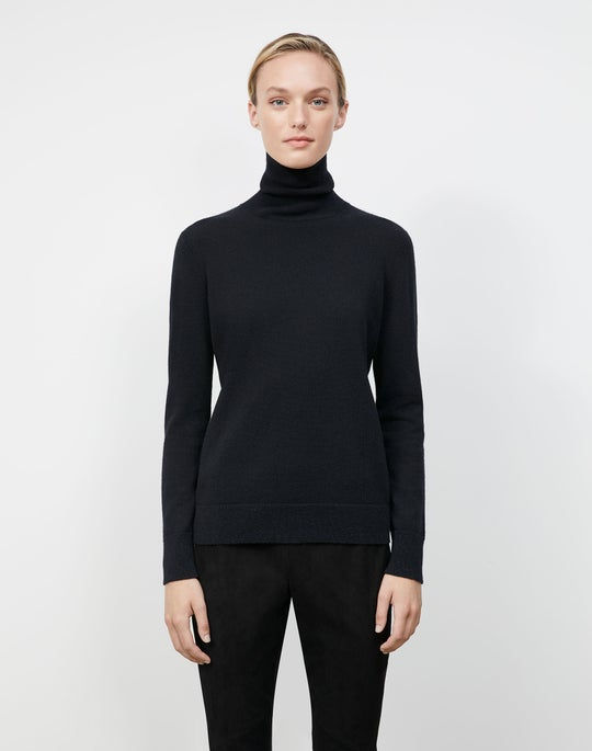Plus-Size Cashmere Lurex Trim Turtleneck Sweater