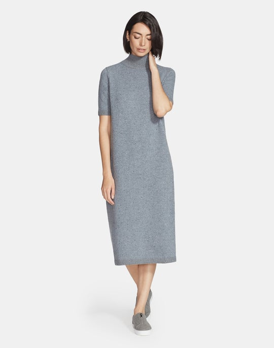 Plus-Size Donegal Wool Stand Collar Sweater Dress