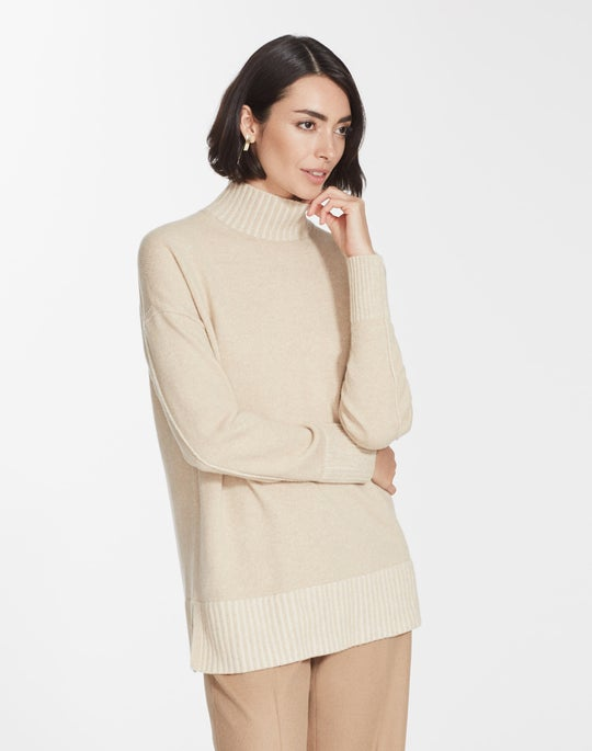 Plus-Size Cashmere Stand Collar Sweater