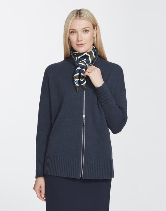 Petite Cashmere Stand Collar Zip-Front Cardigan
