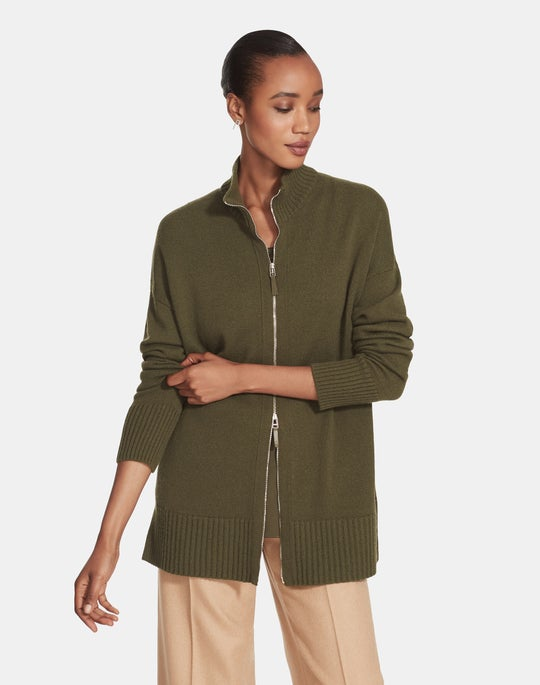 Cashmere Stand Collar Zip-Front Cardigan