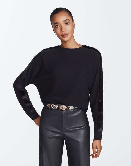 Cashmere Dolman Mink Trim Sweater