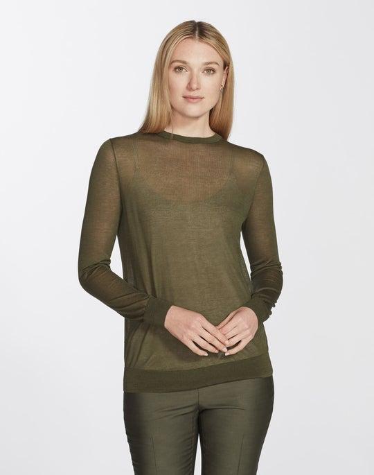Plus-Size Finespun Voile Crewneck Sweater