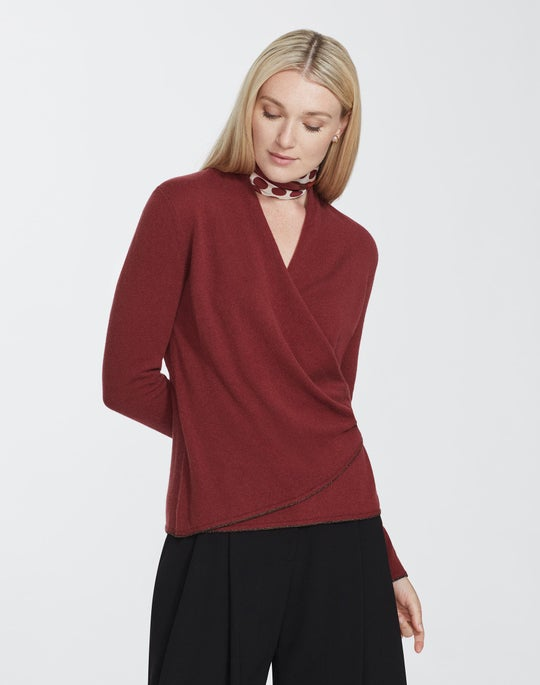 Petite Cashmere Wrap Front Sweater
