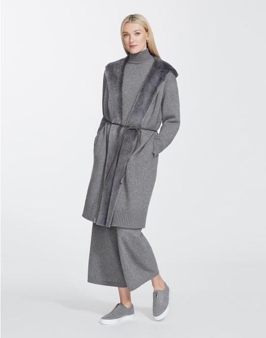 Cashmerino Cardigan Coat With Shearling Hood