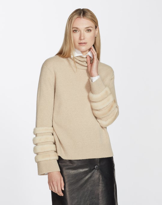 Cashmere & Mink Turtleneck Sweater