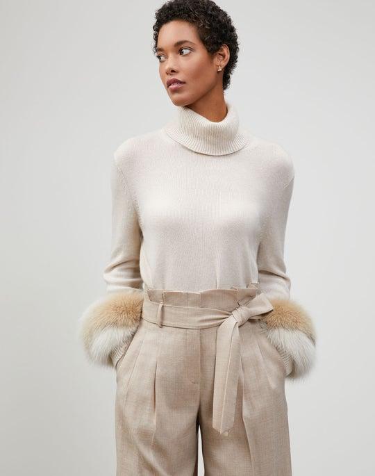 Cashmere Fox Fur-Trimmed Turtleneck Sweater