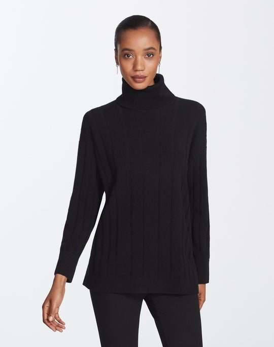 Cashmere Mixed Rib Sweater