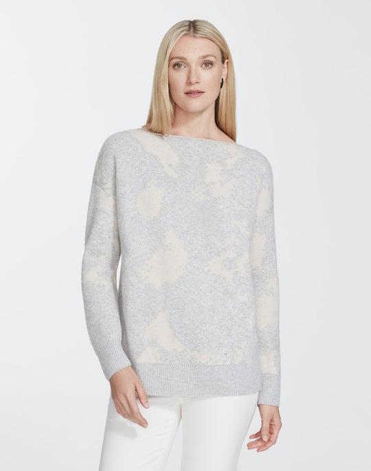 Cashmere Snake Jacquard Bateau Neck Sweater