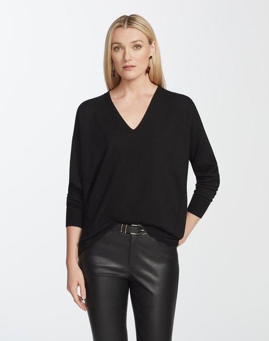 Petite Fine Gauge Merino Lightweight V-Neck Pullover Sweater