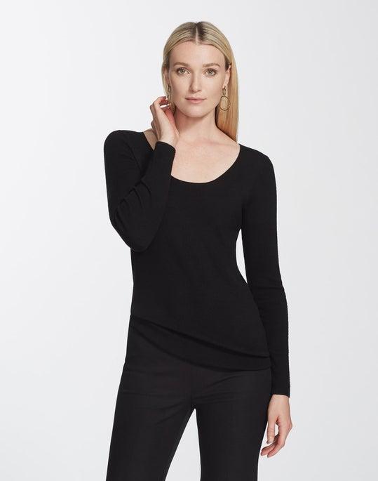 Fine Gauge Merino Scoop Neck Rib Sweater