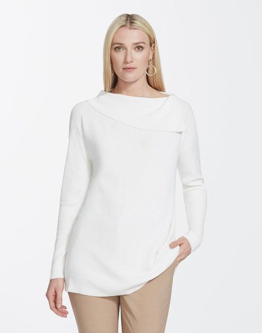 Matte Crepe Asymmetrical Neck Sweater