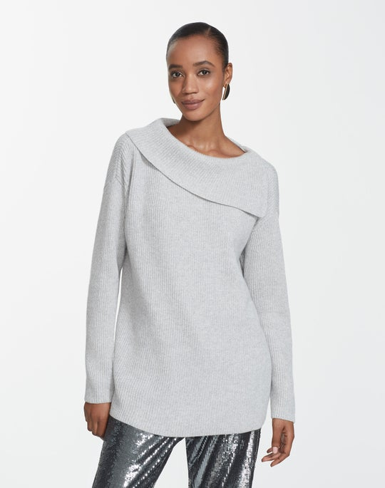 Cashmere Asymmetrical Neck Sweater