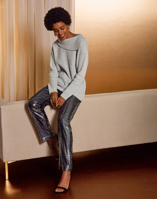 Cashmere Asymmetric Cowl Neck Sweater and Sequin Fulton Pant