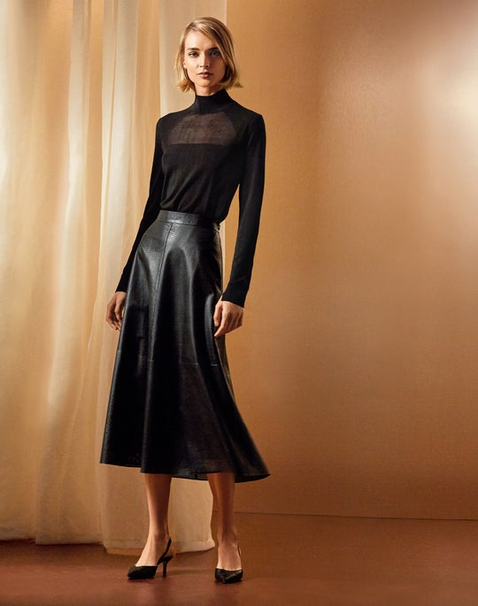 Sheer Front Sweater and Leather Celestia Skirt
