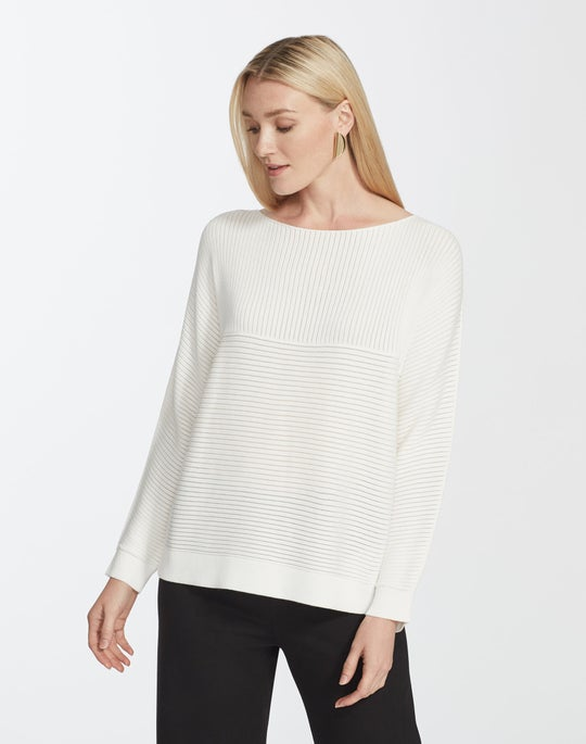 Plus-Size Matte Crepe Mixed Links Stitch Pullover