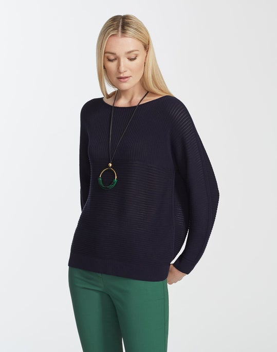 Matte Crepe Mixed Links Stitch Pullover