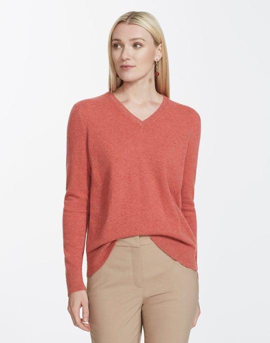 Plus-Size Cashmere V-Neck Sweater