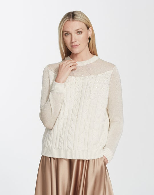 Sequin Cashmere Cable Pullover