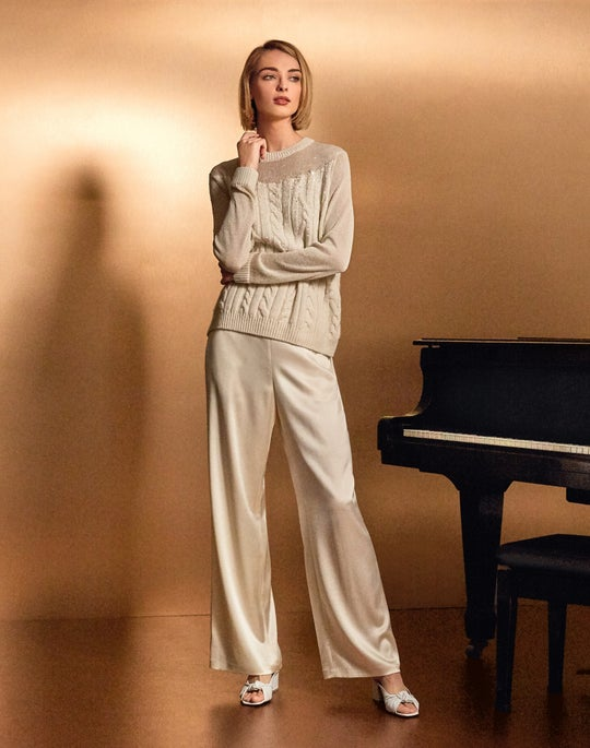 Cashmere Cable Sweater and Satin Ankle Riverside Pant