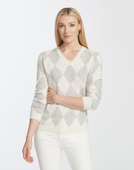 Petite Cashmere Argyle Sweater
