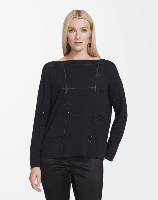 Matte Crepe Embellished Bateau Neck Sweater