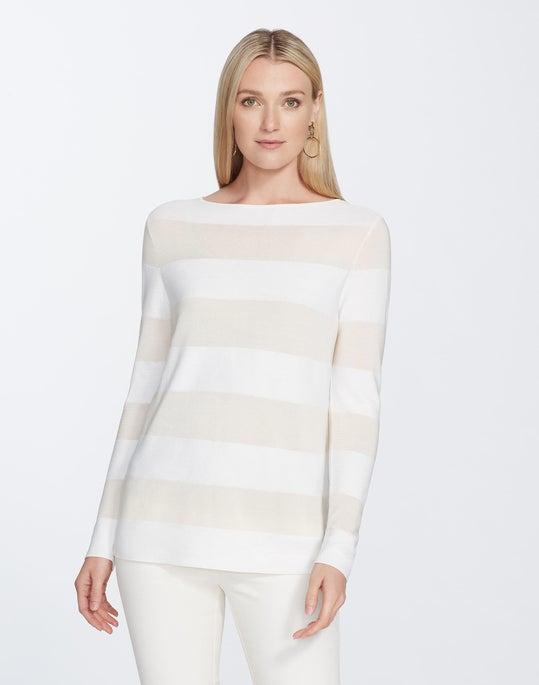 Plus-Size Matte Crepe Bateau Neck Stripe Pullover Sweater
