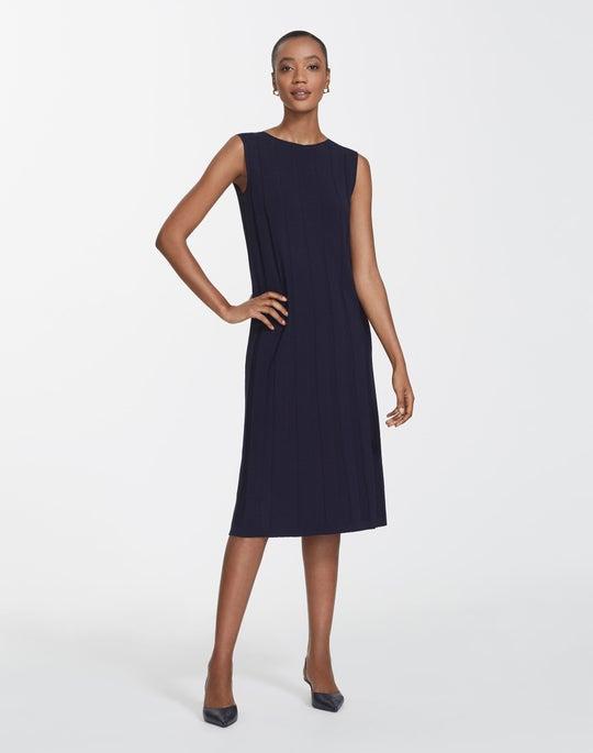Plus-Size Matte Crepe Rib A-Line Dress